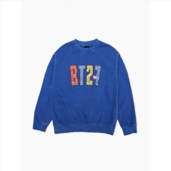 [BT21] Garment Dying Sweat Shirts : BT21 HEART Blue (LF) Koreapopstore.com
