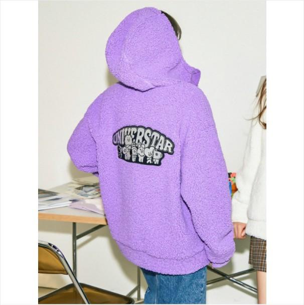 [BT21] Lavender Fleece Hood Jacket (LF) Koreapopstore.com