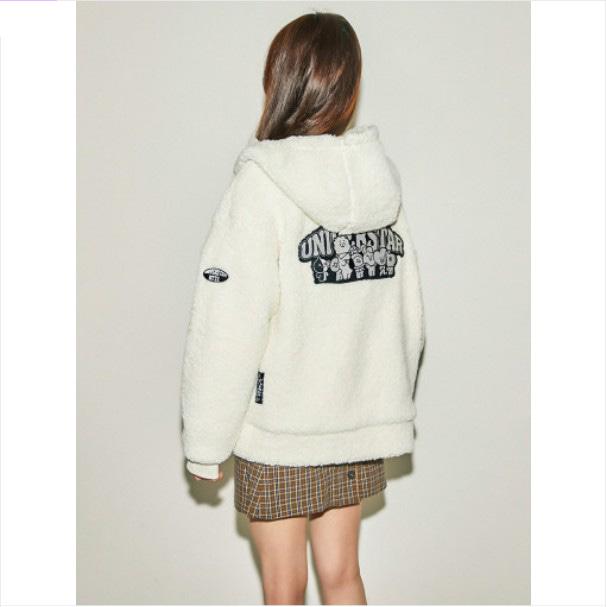 [BT21] Ivory Fleece Hood Jacket (LF) Koreapopstore.com